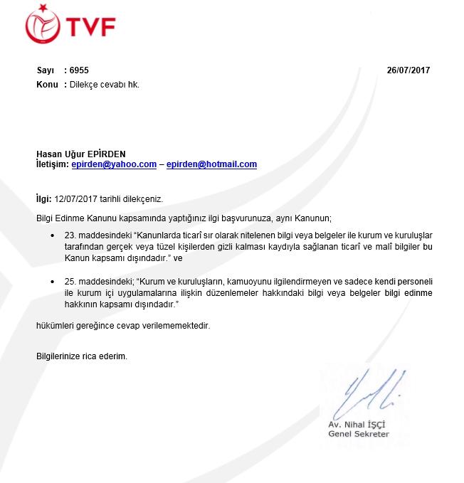 BEHK TVF CEVAP 26.07.2017